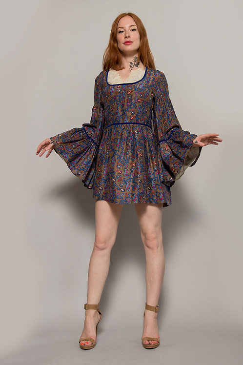 1970's Paisley Print Bell Sleeve Dress/Top
