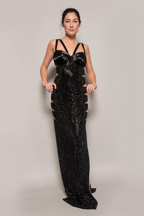 Julien MacDonald Black Beaded w/ Side Sheer Panels Gown