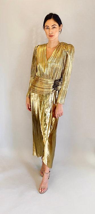 Lillie Rubin Liquid Gold 80's Metallic Dress