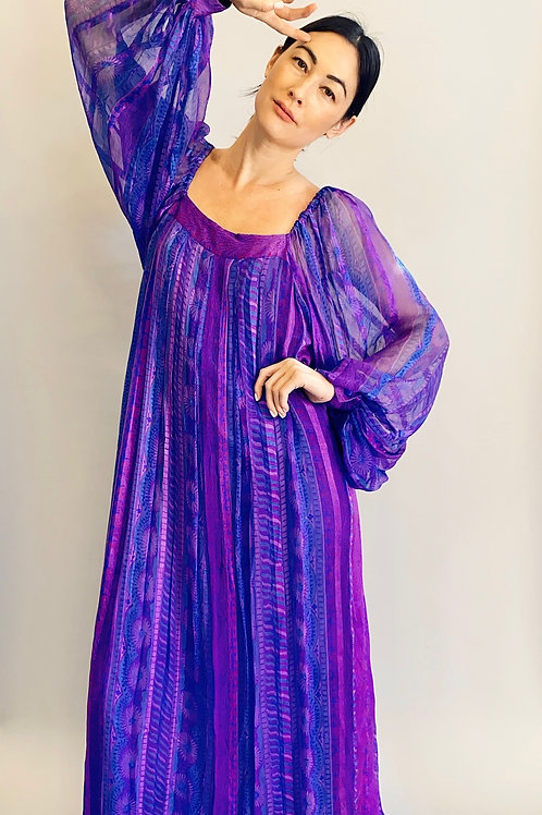 1970's Silk Raksha of London for Bergdorf Goodman Balloon Sleeve Dress