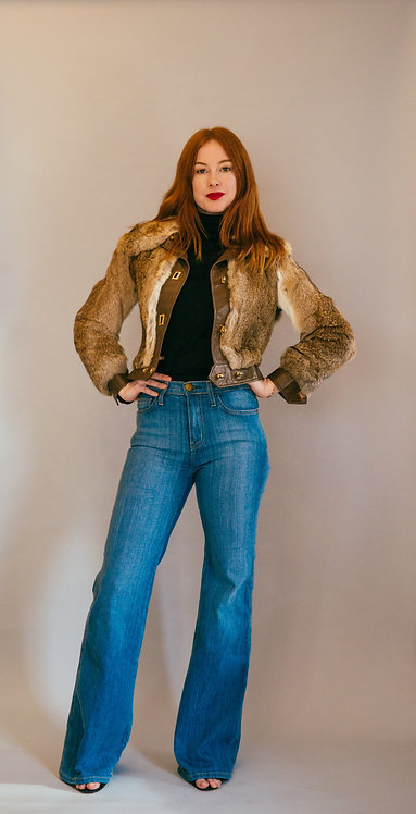 70's Fur and Leather Cropped Jacket