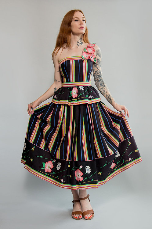 Victor Costa One Shoulder Floral Dress