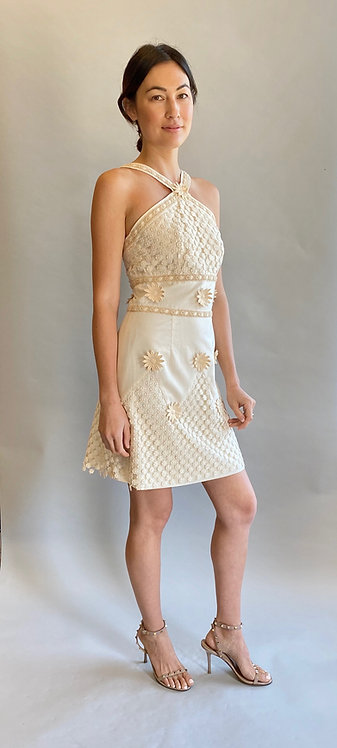 Moschino Couture White Floral Lace Appliqué Dress