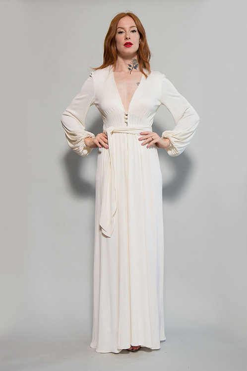 1970s Mollie Parnis White Jersey Gown