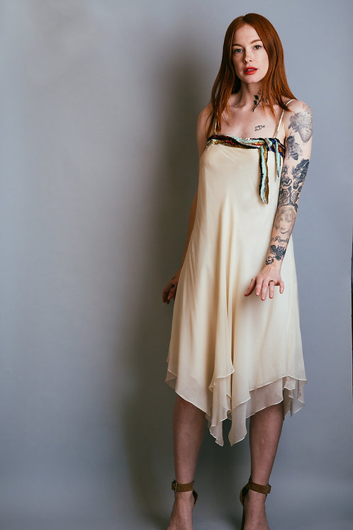 70's White Chiffon & Beaded Cocktail Dress