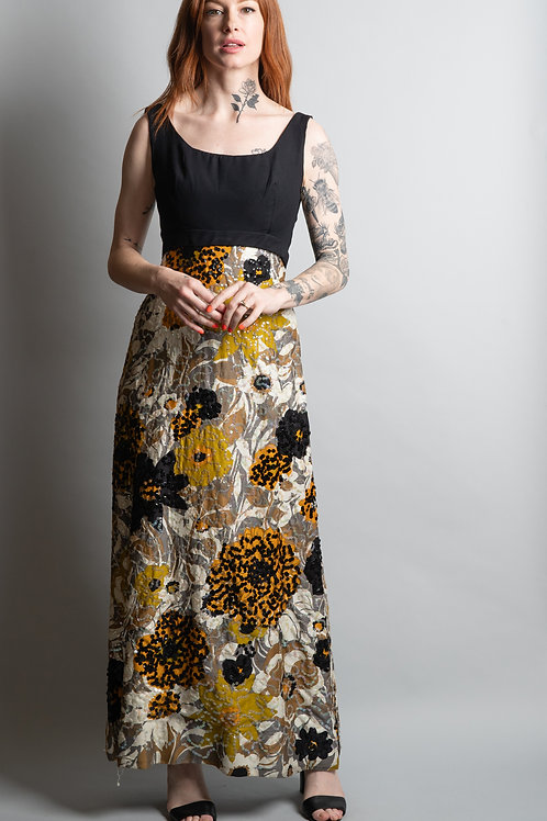 60's Bunwit Teller Floral Print with Sequin Dress