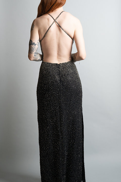 1970's Open Back Beaded Gown