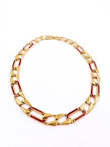 Monet Red Enamel Necklace