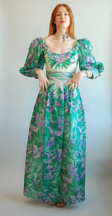 Ruben Pants Floral + Sequin Dress