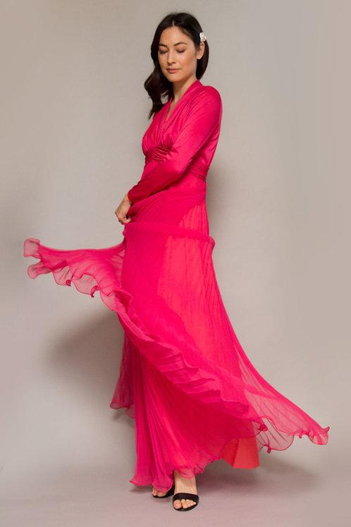 Miss Elliette Fuchsia 1970's Accordian Pleated Gown