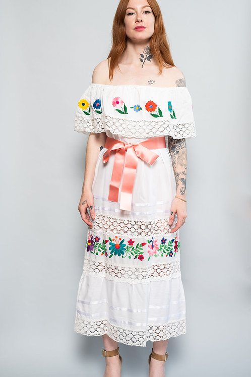 70s Mexican Cotton Embroidered Dress