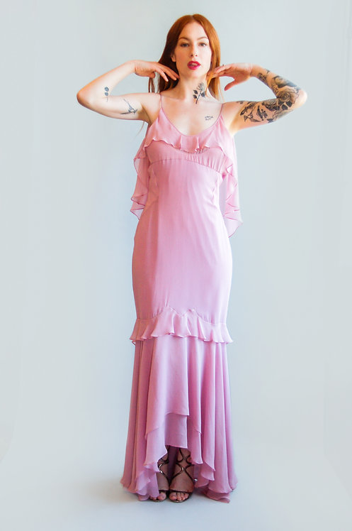Tom Ford for YSL Pink Open Back Ruffle Dress