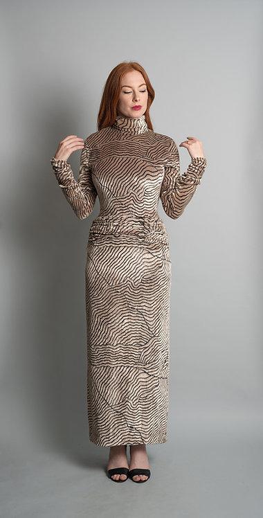 Vintage 1980's Bill Blass Velvet Animal Print Gown