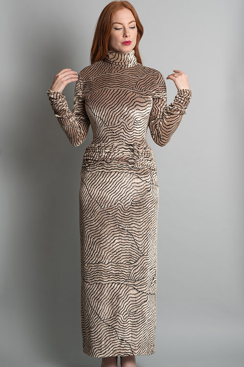 Vintage 1980's Bill Blass Velvet Animal Print Gown