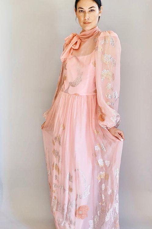 Pink Silk & Metallic Balloon Sleeve Dress/Gown