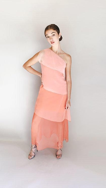 Mollie Parnis Pink Tiered Chiffon Dress