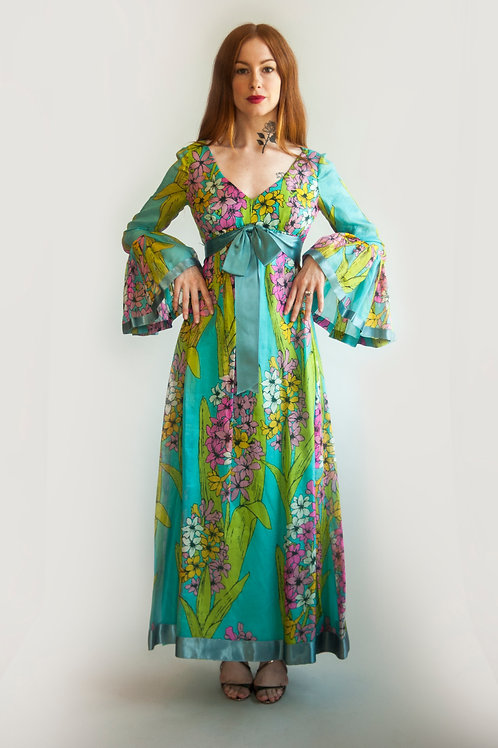 1970's Mollie Parnis Floral Dress With Bell Sleeves