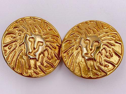 Lion Head Gold Clip on Earrings