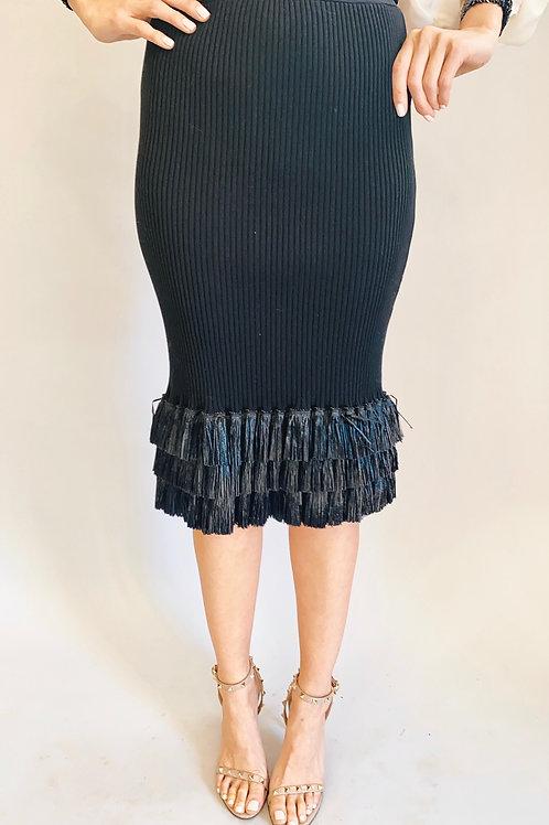 Fuzzi Black Knit  Raffia Ruffled Skirt