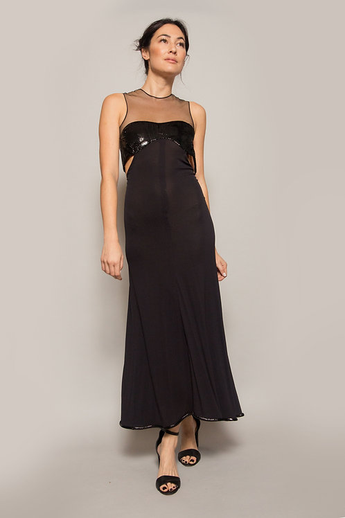 1995 Geoffrey Beene Tulle Neckline Gown