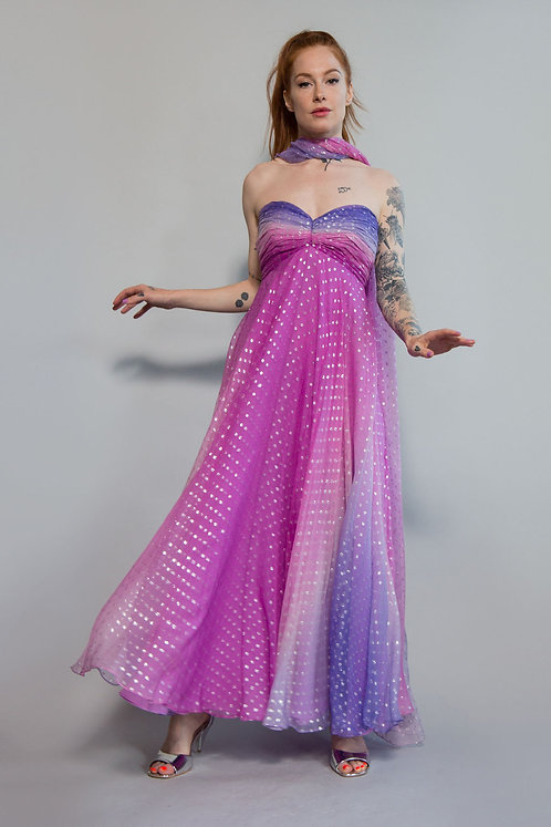 Strapless Ombre Metallic Gown