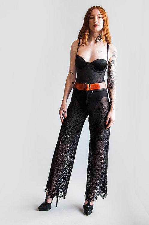 1980's Jean Paul Gaultier Sheer Eyelet Pants With Detachable Belt
