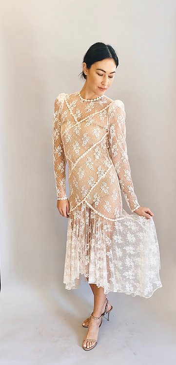 White Lace Victorian Style Dress