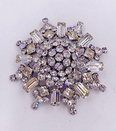 1960's Crystal Signed Sunburst Brooch