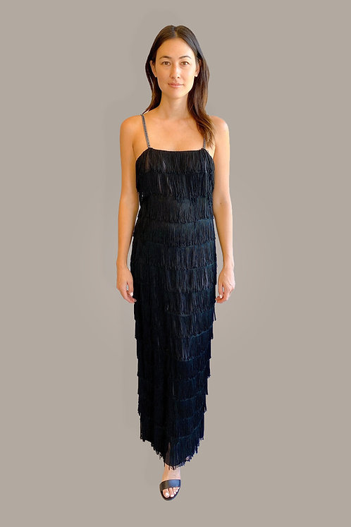 Black Tiered Fringe Dress with Rhinestone Straps Front View