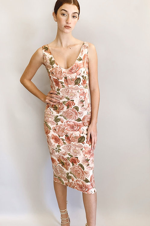 Dolce & Gabbana 1996 Floral Print Dress with Satin Bra