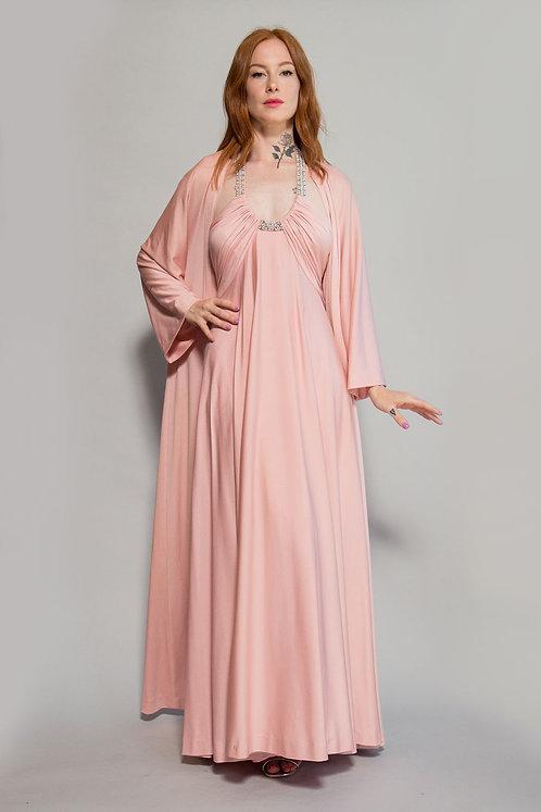 70s Victoria Royal Halter Dress w/Duster