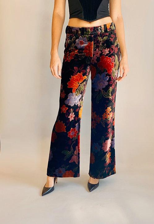 Etro Velvet Floral Print Pants