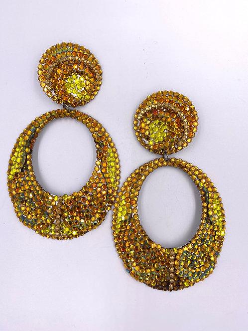 VTG 1980's X Large Disco Yellow/Orange Rhinestone Drop Earrings