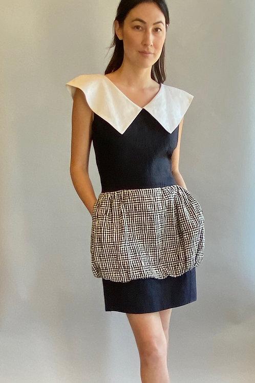 Black & White Gingham Peplum Dress With Sailor Collar
