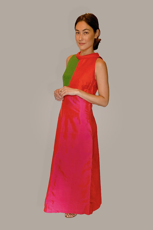 Vintage Silk Colorblock Gown Front View