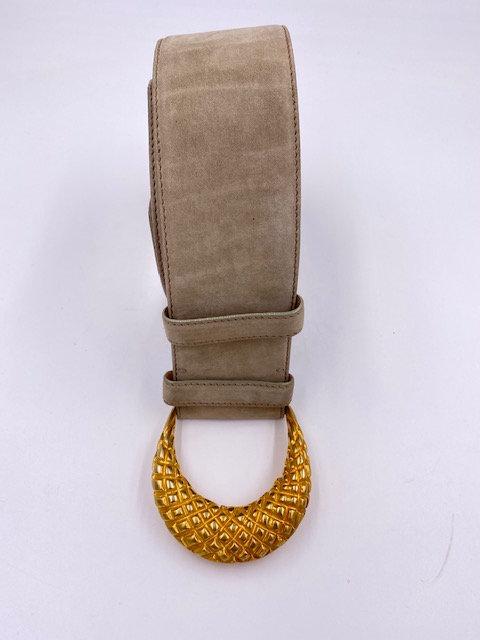 Donna Karan New York Gold Buckle, Gray Leather Belt