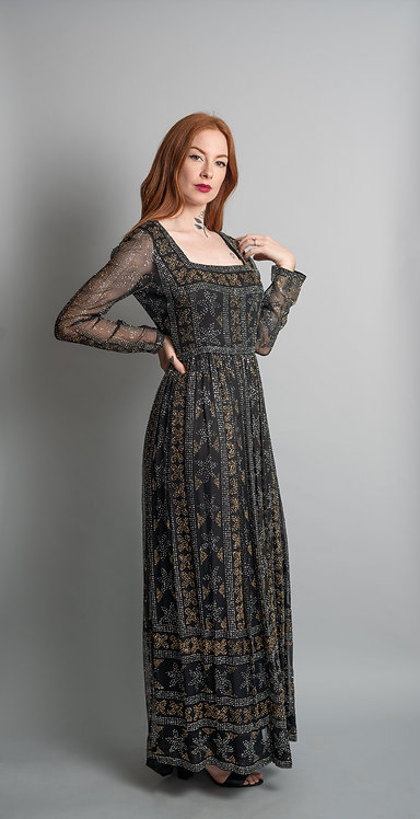 Vintage 1960's Elinor Simmons Black lined Sheer Silver and Gold Glitter Gown