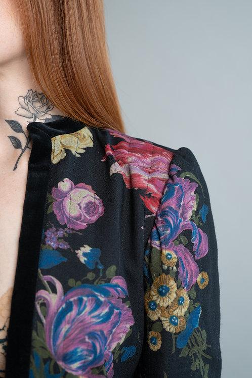Vintage 1980's Emanuel Ungaro Parallels Paris Quilted Floral Blazer