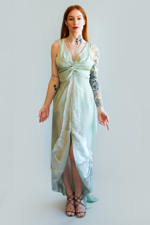 Vintage 1990's Mint Green Satin Skirt & Top Set