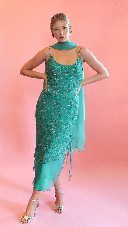 Glitter Slip Dress with Scarf