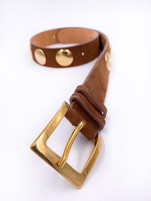 Brown Leather Gold Studded Belt