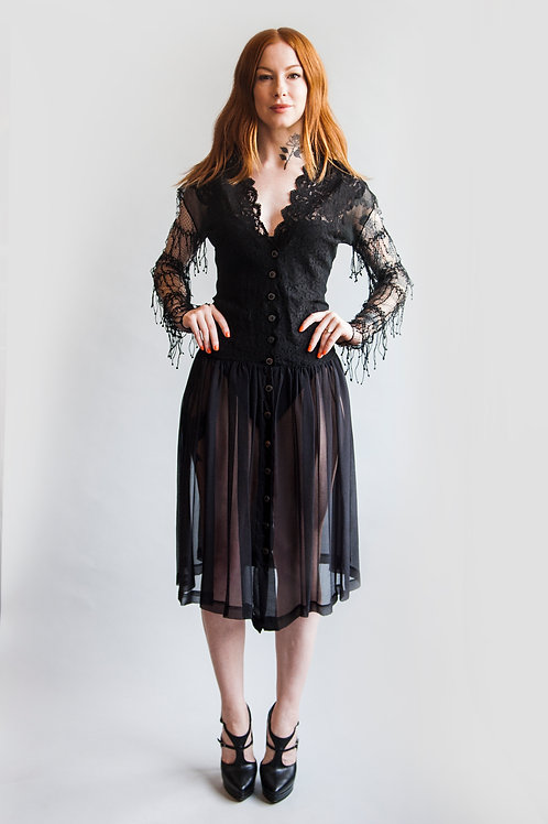 1980's Jean Paul Gaultier Lace and Sheer Dress