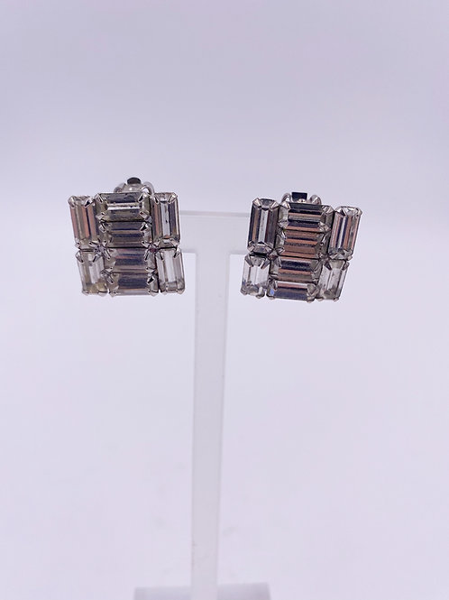 Weiss Square Baguette Clip Earrings