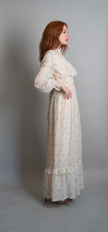 70's Cotton Printed Praire Dress