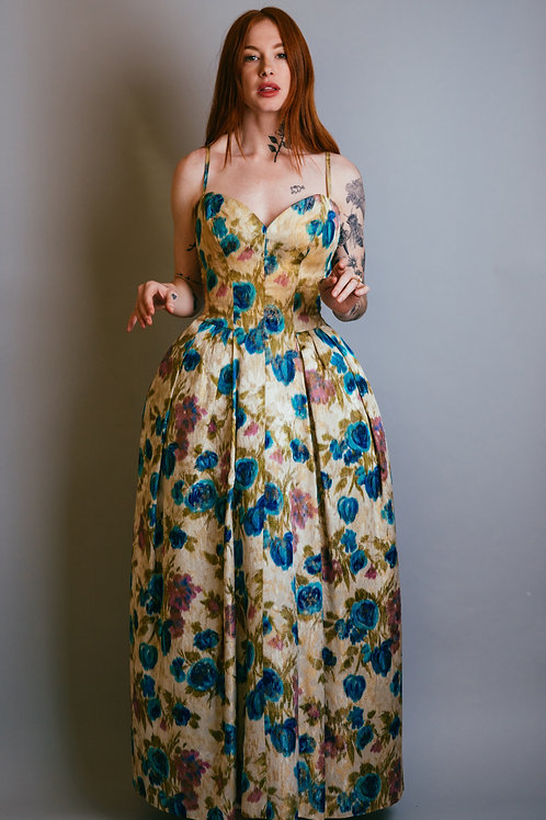 50's Floral Full Skirt Gown with Corseted Bodice