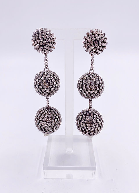 Crystal Ball 3 Tiered Drop Earrings