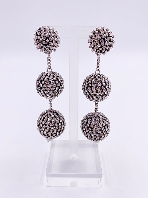 Crystal Ball 3 Tiered Drop Earrings
