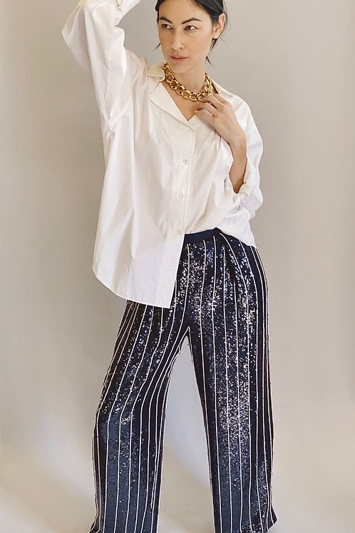 Bill Blass Navy Sequin & Beaded Stripe Pants