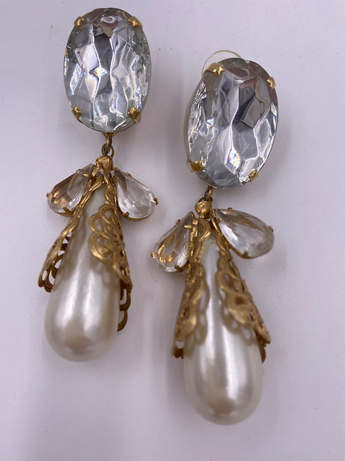 1990's Crystal & Pearl Drop Earrings, Bridal