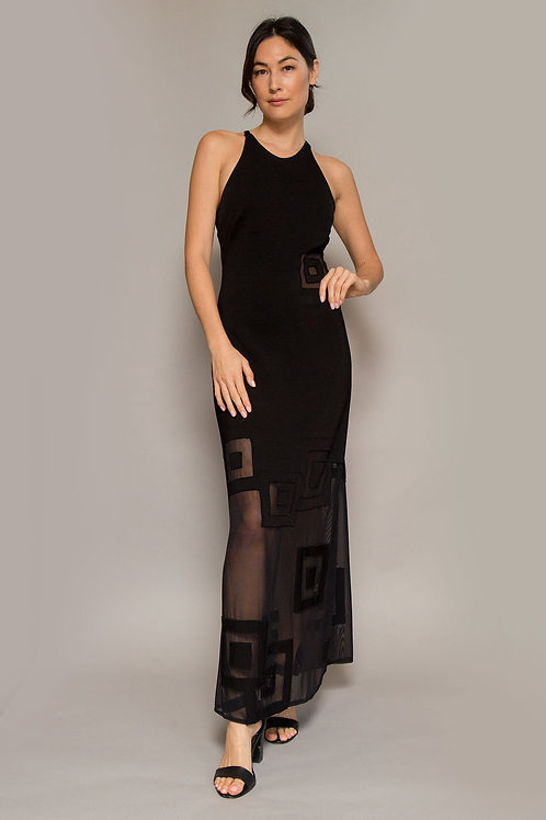 1990's Jersey Open Back Black Dress W/ Sheer Cutouts